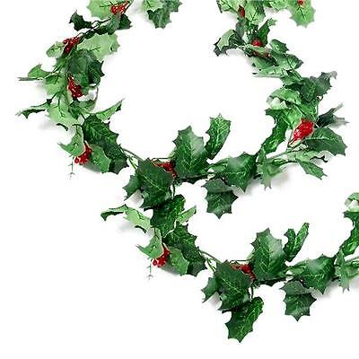 Artificial Green Holly and Berry Garland Christmas Decoration - 170cm Long