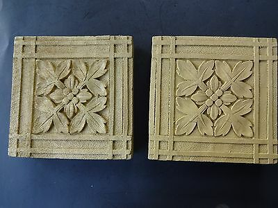 Vintage Pair Square Wood Architectural Carved Flower Decorations