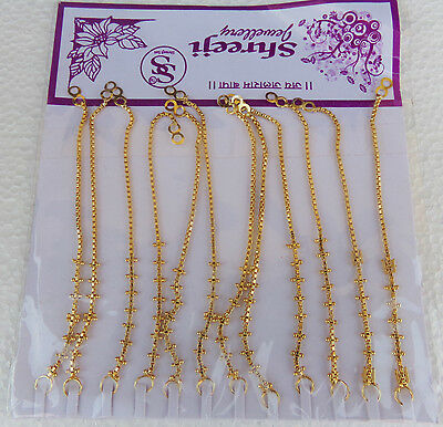 22k Gold Plated Traditional Earrings Chain South Indian Bridal Jhumki Chain Lot