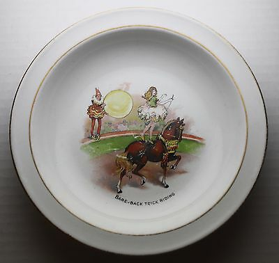 Circus Nursery Ware Grimwades England Porcelain Bowl Bare-Back Trick-Riding