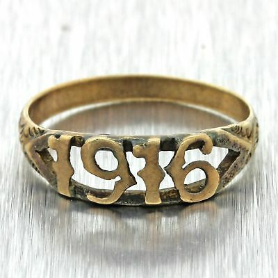 1916 Antique Art Deco Victorian Estate 14k Solid Yellow Gold Date Band Ring