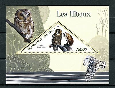 Ivory Coast 2016 MNH Owls 1v S/S Brown Wood Owl Birds Stamps