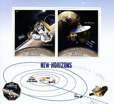 Ivory Coast 2016 MNH New Horizons Mission to Pluto 2v M/S Space Stamps