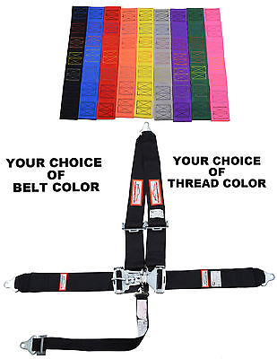 "Your Pick Of Thread & Belt Color New  3"" Latch & Link 5 Point V Racing Harness"
