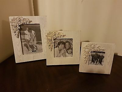 Set Of 3 Shabby Chic White Wooden Photo Picture Frame