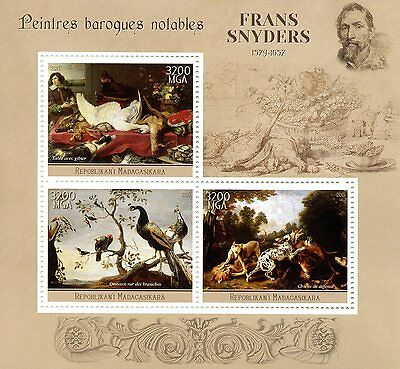 Madagascar 2015 MNH Frans Snyders 3v M/S Art Baroque Paintings Stamps