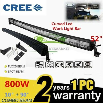"CREE CURVED LED 800W 52""Combo Work Light Bar Offroad Driving Lamp 4WD UTV Pickup"