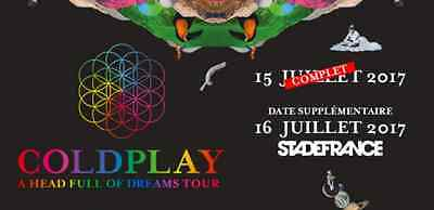 COLDPLAY Places COLDPLAY 16/07 Pelouse - Tickets COLDPLAY Paris 16 July PIT