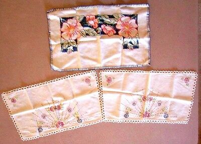 Lot 3 vintage White Embroidered Linen Doilies Floral, Pink, Blue ,Yellow,  b12