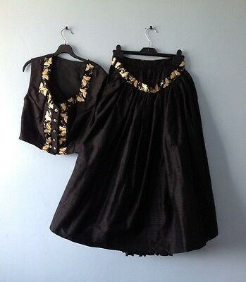 Party Wear: Unique  Silhouett Outfit from Austria,100% Silk.Black/ Golden