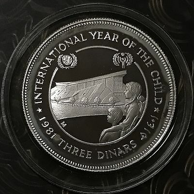 1981 Jordan Int'l Year Of The Child 3 Dinars Silver Proof Coin
