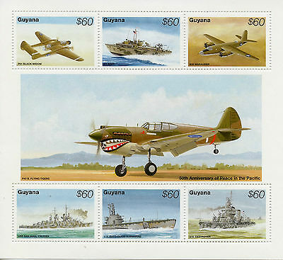 Guyana 1995 MNH WWII VJ Day Peace Pacific 50 1v S/S Ships Fighter Planes Stamps