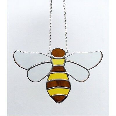 Handmade Stained Glass Honey Bee Suncatcher Tiffany Glass Technique Yellow Glass