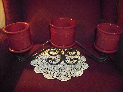 Longerberger wrought iron candle holder with 3 Longaberger Paprika Crocks/Lids