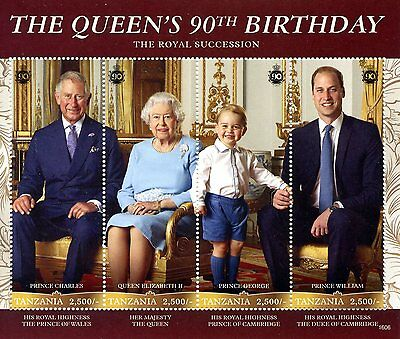 Tanzania 2016 MNH Queen Elizabeth II 90th Birthday Anniv 4v M/S Royalty Stamps