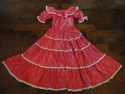 "Square Dance Long Skirt & Matching Blouse, 32"" Length, Red/White"