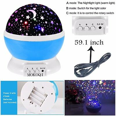 Constellation Night Light Baby Kids Room Moon Star LED Projector Rotating Cosmos