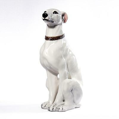 Intrada Italian Ceramic White Greyhound Statue Dog Figurine Handmade in Italy