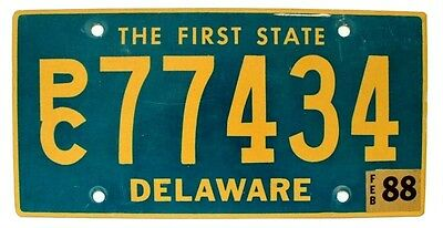 """Delaware 1988 """"The First State"""" Station Wagon SUV License Plate, High Quality"""