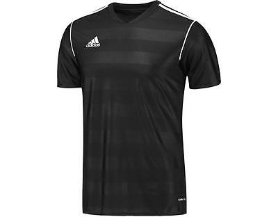 New Adidas Mens Black 3 Stripe Training Top Shirt Jersey Football S M Xl Xxl