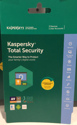 Kaspersky Total Security 2017 3 Device 1Year NEXT DAY DELIVERY SendKey Free Post