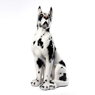 Intrada Italian Ceramic Great Dane Statue Dog Figurine Handmade in Italy