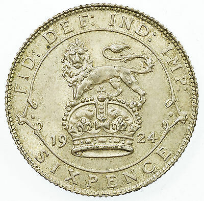 Great Britain, George V Sixpence, Silver, Near Unc, 1924