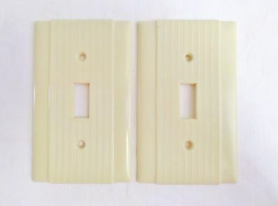 Vintage Pair Of Ribbed Ivory Single Bakelite Light Switch Cover Plates!