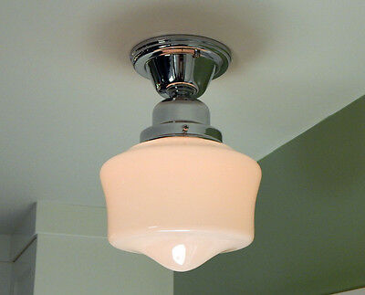Schoolhouse Ceiling Light. Vintage Opal Glass Shade. New Chrome Fixture