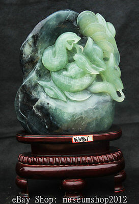"""14"""" Chinese Xiu Jade Carved Snake Eat Rabbit Money Coin Wealth Animal Statue"""