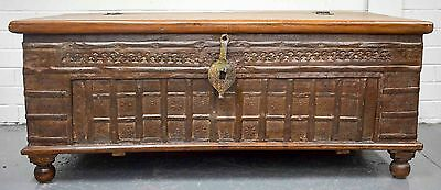 Reclaimed Timber Antique Metal Chest Blanket Box Coffee Table Storage Trunk