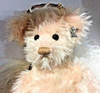 """Annette Funicello Pink Guardian Angel Feather Wings Faith 19"""" Mohair Teddy Bear"""