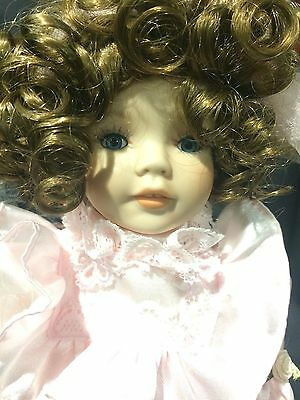 """Dynasty Collection QVC Vintage Easter April Girl 12"""" Porcelain Bisque Doll MIB"""