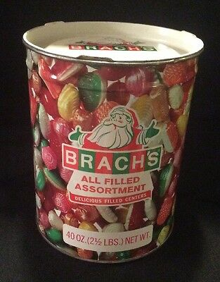 Vintage Brach's All Filled Assortment Christmas Advertising Tin 40 Oz Holiday