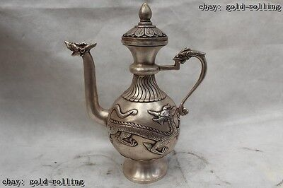 "10""China Tibet Buddhism Folk Silver Lifelike Lucky Dragon wine pot flagon"