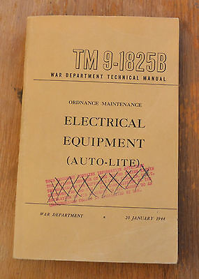 VTG 1944 WWII Willys Jeep Auto-Lite Electrical Equipment TM9-1825B N