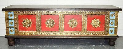 Solid timber Distressed Indian Morrocan Brass Chest Blanket Box Coffee Table
