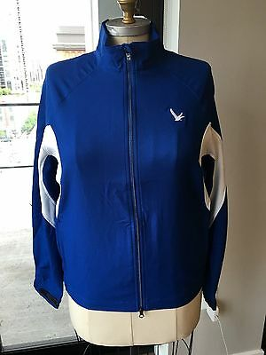 NWT Kate Lord Performance Golf Jacket Wind Breaker XL Blue & White Grey Goose