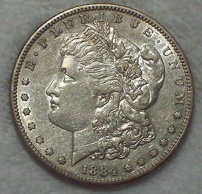 1884 S Morgan Dollar SILVER - KEY DATE COIN - Authentic High Grade AU Detailing