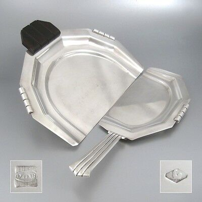 Vintage French Art Deco Silver Plate & Macassar Crumb Tray & Scraper Set, 1930's