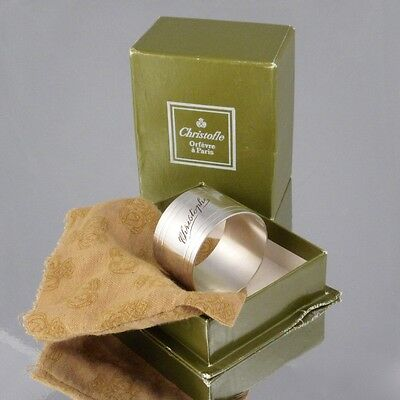 "Vintage French Christofle Silver Plate Napkin Ring, Engraved ""Christophe"", Box"