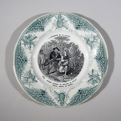 Antique French Creil & Montereau Porcelain Plate, Opening Day Hunting Season
