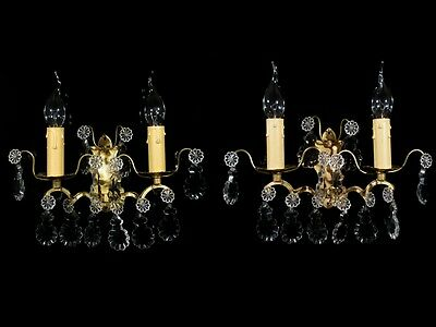 Pair of Vintage French Bronze Sconce Pendeloque Crystal Prisms, Stamped Numbered