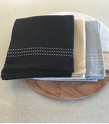 Waffle Tea towel, 3 pack consisting of colours  black, grey and linen BNWT