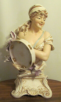 Rare Large Art Nouveau Bernard Bloch Bohemian Gypsy with Tambourine Bust