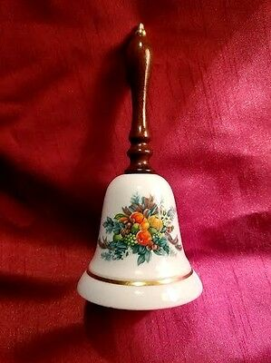 1985 Avon Christmas Bell 24K Gold Trim Porcelain Wooden Handle