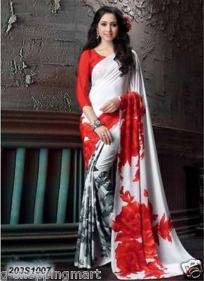 203S1007 Delusively White Crepe Silk Printed Saree Sari Indian Bollywood Printed