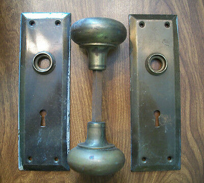 Vintage Bronze Door Knob And Back Plates Y&T Set