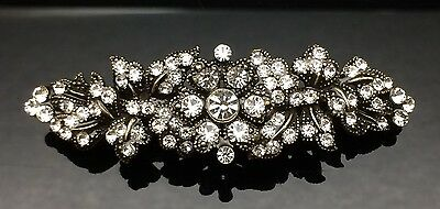 Vintage Gold Crystal Antique Hair Comb Clip Barrette Bridal Formal 7cm Wedding