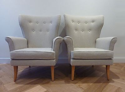 Mid Century Wingback Armchair Newly Upholstered in Grey Wool PAIR AVAILABLE